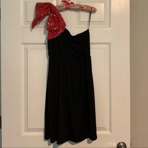 Judith March Red & Black One Shoulder Dress